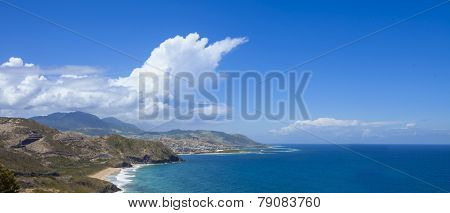 panorama of Bassetterre, St Kitts, and surrounding mountains and ocean