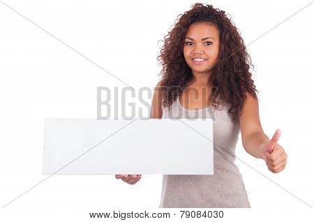 Young African American Woman Holding Blank Sign Isolated On A White Background