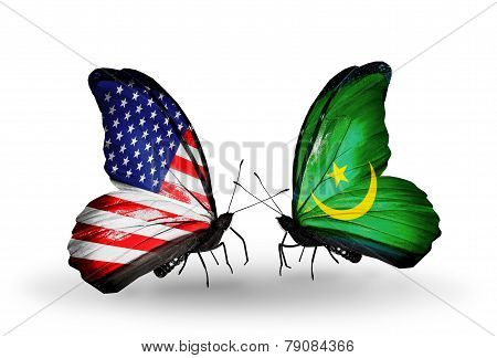 Two Butterflies With Flags On Wings As Symbol Of Relations Usa And Mauritania