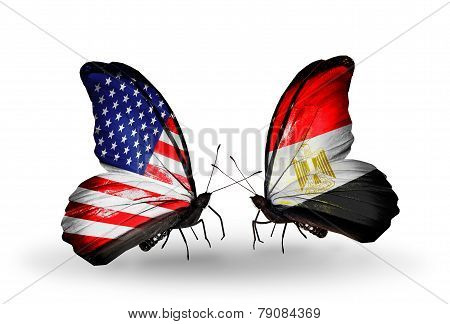 Two Butterflies With Flags On Wings As Symbol Of Relations Usa And Egypt