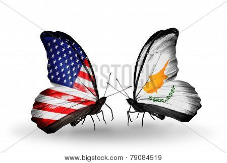 Two Butterflies With Flags On Wings As Symbol Of Relations Usa And Cyprus