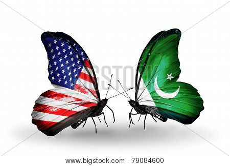 Two Butterflies With Flags On Wings As Symbol Of Relations Usa And Pakistan