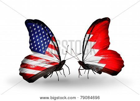 Two Butterflies With Flags On Wings As Symbol Of Relations Usa And Bahrain