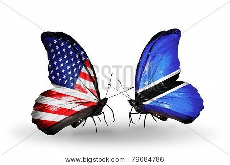 Two Butterflies With Flags On Wings As Symbol Of Relations Usa And Botswana