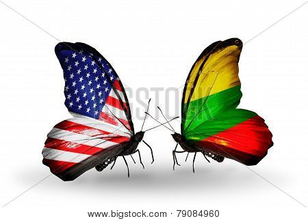 Two Butterflies With Flags On Wings As Symbol Of Relations Usa And Lithuania