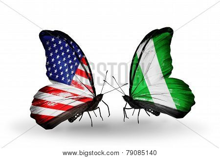 Two Butterflies With Flags On Wings As Symbol Of Relations Usa And Nigeria