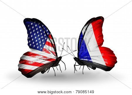 Two Butterflies With Flags On Wings As Symbol Of Relations Usa And France