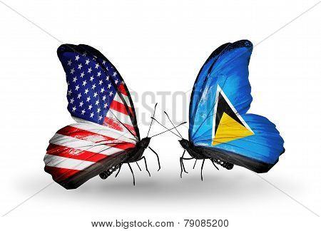 Two Butterflies With Flags On Wings As Symbol Of Relations Usa And Saint Lucia
