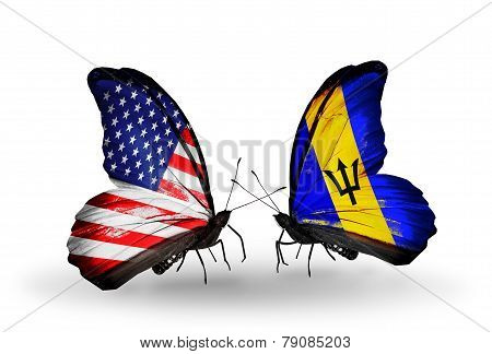 Two Butterflies With Flags On Wings As Symbol Of Relations Usa And Barbados