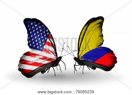 Two Butterflies With Flags On Wings As Symbol Of Relations Usa And Columbia