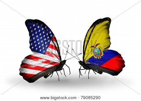 Two Butterflies With Flags On Wings As Symbol Of Relations Usa And Ecuador