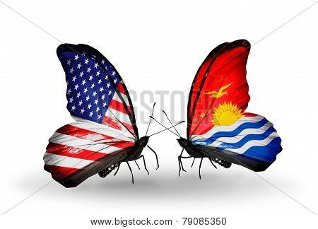 Two Butterflies With Flags On Wings As Symbol Of Relations Usa And Kiribati