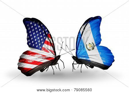 Two Butterflies With Flags On Wings As Symbol Of Relations Usa And Guatemala