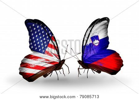 Two Butterflies With Flags On Wings As Symbol Of Relations Usa And Slovenia