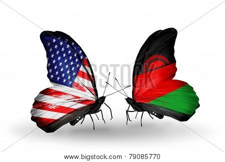 Two Butterflies With Flags On Wings As Symbol Of Relations Usa And Malawi