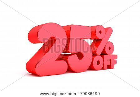 25% Off 3D Render Red Word Isolated in White Background