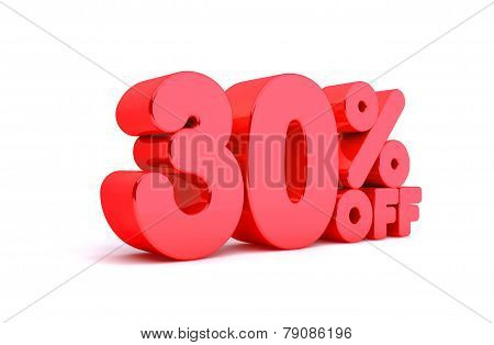 30% Off 3D Render Red Word Isolated in White Background