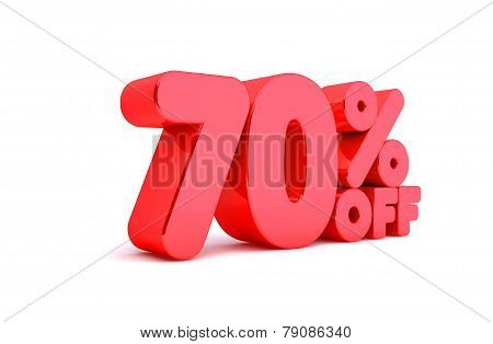 70% Off 3D Render Red Word Isolated in White Background