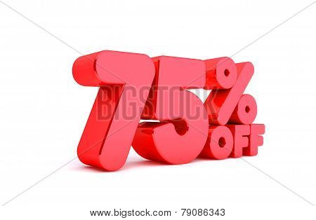 75% Off 3D Render Red Word Isolated in White Background