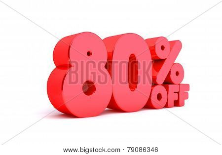 80% Off 3D Render Red Word Isolated in White Background