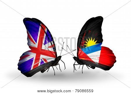 Two Butterflies With Flags On Wings As Symbol Of Relations Uk And Antigua And Barbuda
