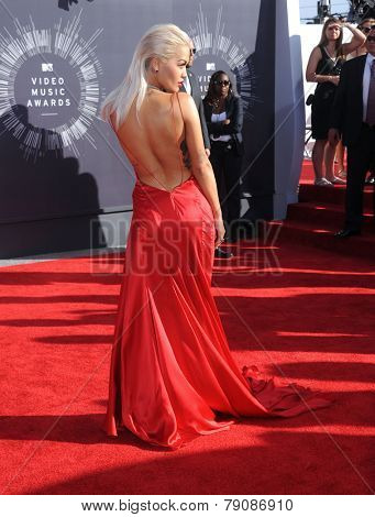 LOS ANGELES - AUG 24:  Rita Ora arrives to the 2014 Mtv Vidoe Music Awards on August 24, 2014 in Los Angeles, CA