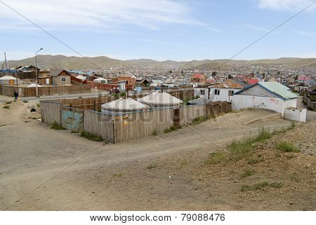 Yurts in the suburb of Ulaanbaatar city, Mongolia.