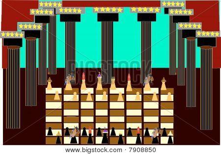 Vector griechisch-römische Architektur mit Chess game Boden