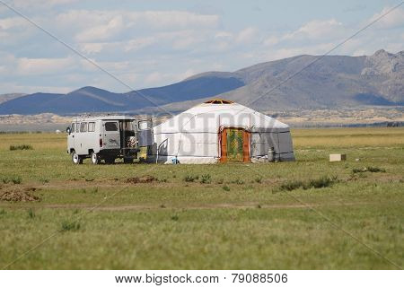 Tourist mini bus parked at the yurt, circa Harhorin, Mongolia.