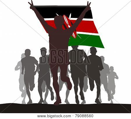 Winner with the Kenya flag at the finish