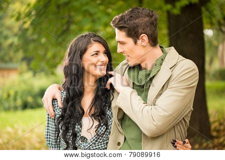 Young Couple In Love In Park