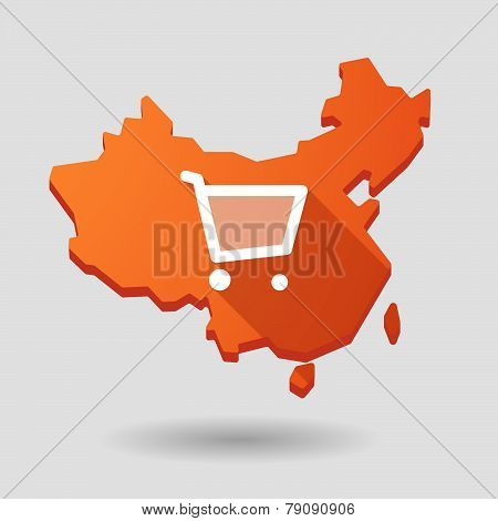 China Map Icon With A Shopping Cart
