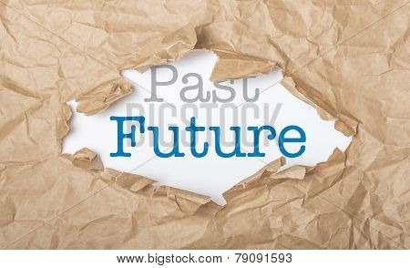 Future And Past Words On Paper And Torn Cardbox