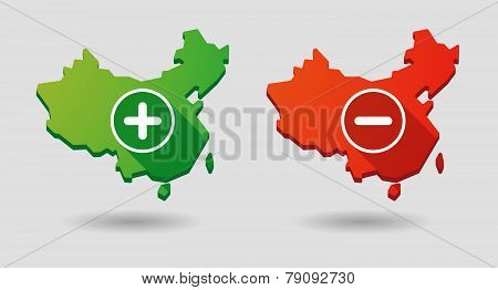 China Map Math Signs Icon Set