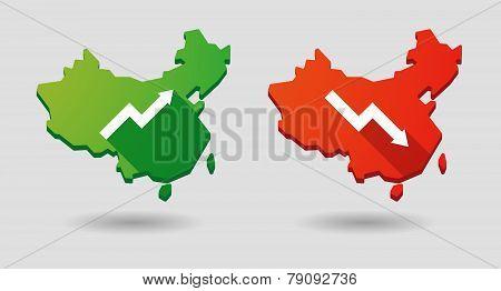 China Map Graph Icon Set