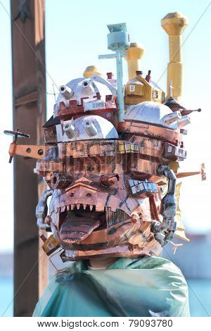 Odd Mask With Buildings At The Carnival Of Venice