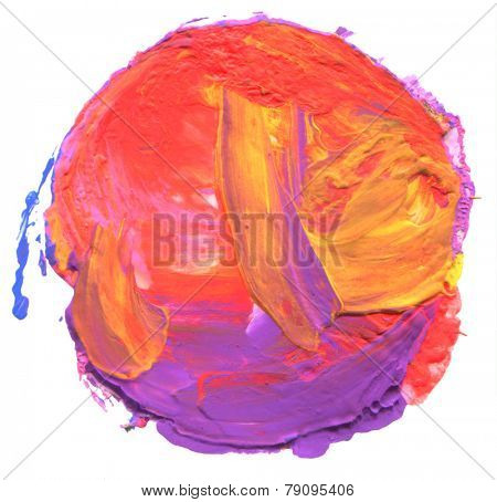 Abstract acrylic and watercolor circle painted background.