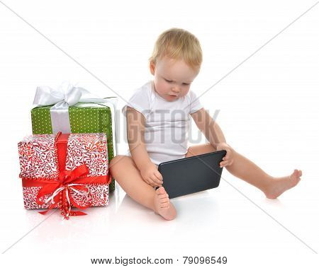 Infant Child Baby Toddler Kid With Tablet Pc Device Ordering Presents Gifts