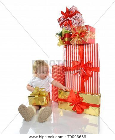 Christmas New Year Concept. Infant Child Baby Toddler Kid Preparing Presents