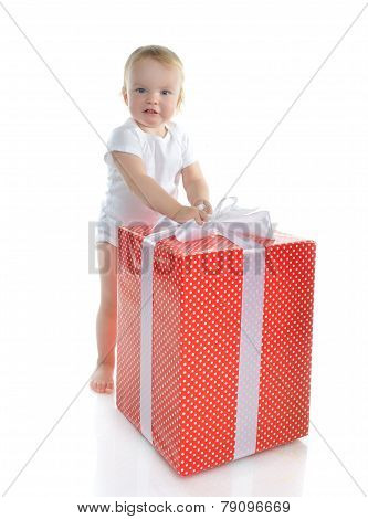 Infant Child Baby Toddler Kid With Big Red Present Gift For Birthday