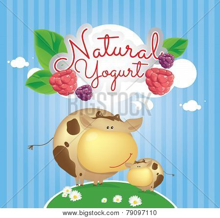 Cartoon illustration with cows and berry