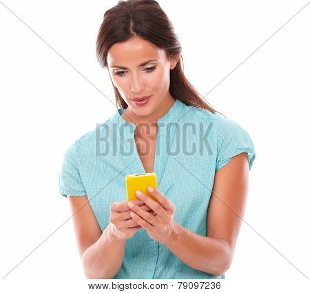 Fashionable Brunette Lady Sending Text Message
