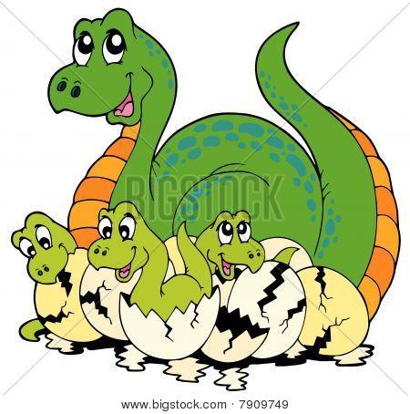 Dinosaur mom with cute babies