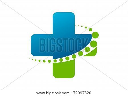 cross pharmacy logo with abstract healthy spine