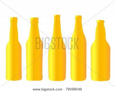 Different Kinds Of Golden Beer Bottles