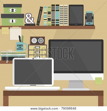 Close up of flat modern and stylish working place