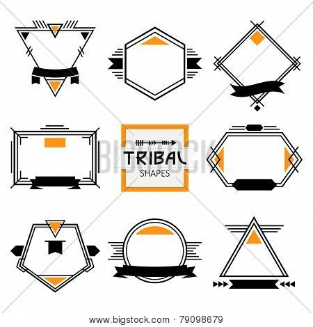 Assorted modern tribal out line shapes labels and emblems set