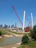 stock photo of calatrava  - With the lifting of the two Signature Sections of the Calatrava Bridge Project - JPG