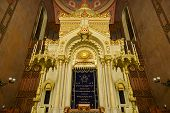 image of synagogue  - BUDAPEST HUNGARY - DECEMBER 1 2014: Great Synagogue in Budapest Hungary. It is the second largest synagogue in the world.