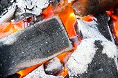 stock photo of charcoal  - Burning of charcoal - JPG